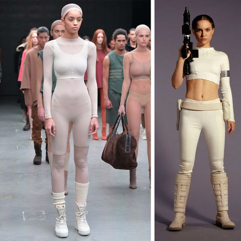 Kanye West's first collection for Adidas Originals featured Kylie Jenner on the catwalk, but channeled a bit of Padme Amidala (played at right by Natalie Portman), too.
