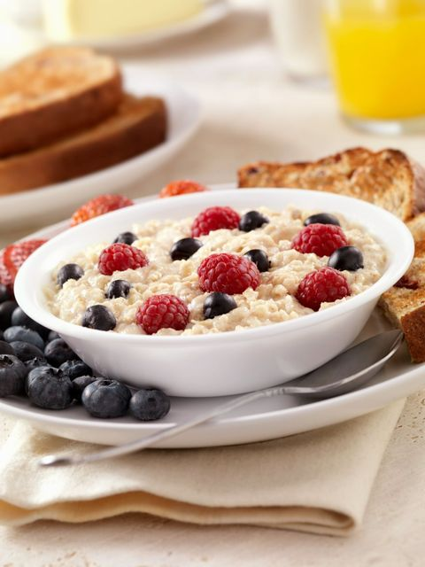 """Consider this the holy trinity of stress-busting snacks. Not only do oats help stabilize your mood, thanks to their B vitamins, """"but berries provide a healthy dose of vitamin C—great for keeping stress at bay—while walnuts are packed with happiness-boosting omega-3s,"""" explains <a target=""""_blank"""" href=""""http://www.nuhealthandwellness.com/"""">Natasha Uspensky</a>, a holistic health and nutrition counselor. """"Quick or slow-cooking stovetop oats (either rolled or steel-cut) are generally healthier than the instant microwaveable kind, but in a pinch, you can heat up instant oats with boiling water,"""" notes Uspensky."""