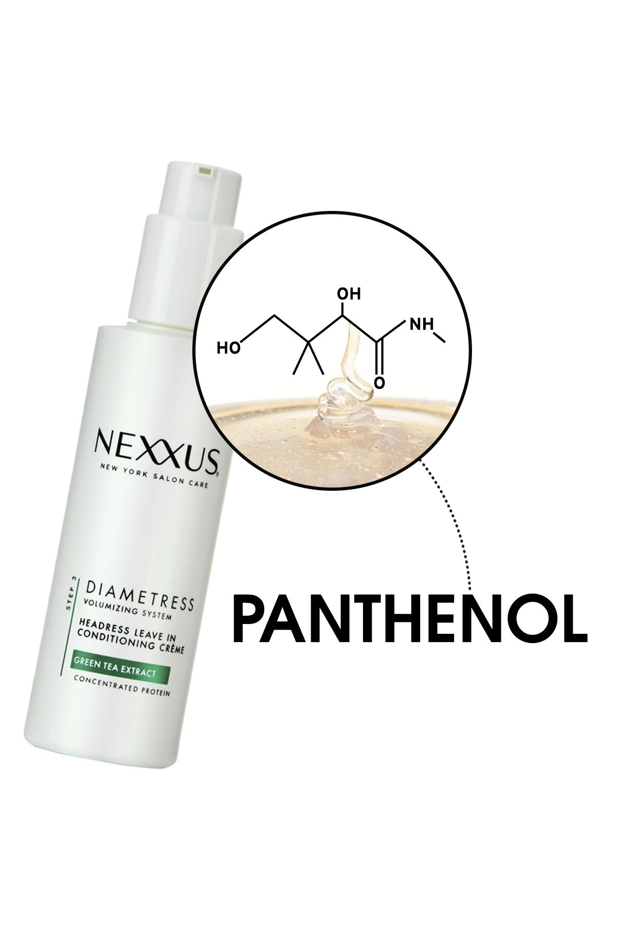 """THE SCIENCE: Because lack of moisture can cause strands to get thinner, panthenol """"helps strands retain water, increasing their actual diameter,"""" explains Minar.   SCIENCE, DECODED: Panthenol plumps up super thin strands and boosts the thickness of your ponytail.   Try: <a href=""""http://www.nexxus.com/product/detail/890480/products-diametress-headressleaveinconditioningcreme"""" target=""""_blank"""">Nexxus Diametress Headress Leave In Conditioning Créme</a>"""