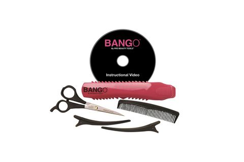 "<p>Bango Home Haircutting Kit, $27; <a target=""_blank"" href=""http://www.amazon.com/Pro-Beauty-Tools-Home-Haircutting/dp/B008LG8732"">amazon.com</a></p> <p>It's like a level for your fringe! This handy tool holds your hair in place, separates strands, and acts as a straight-line guide for your scissors, removing all guesswork when you opt to trim at home.</p>"