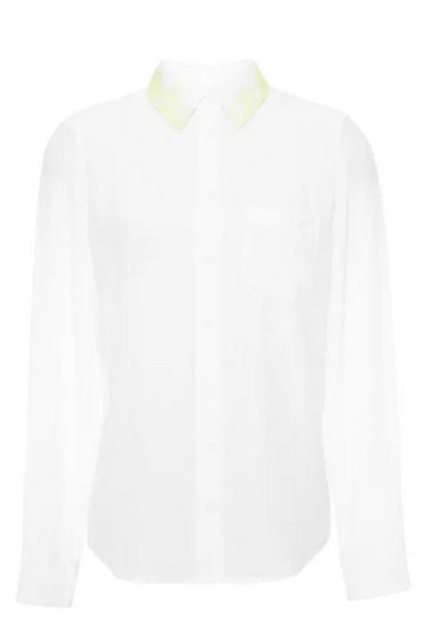 "A neon yellow lace-like collar adds just the right amount of color to an all-white shirt.   Equipment Brett Lace Collar Blouse, $218; <a target=""_blank"" href=""http://modaoperandi.com/equipment-r15/super-vintage-washed-brett-shirt?gclid=CjwKEAjwru6oBRDDp4jRj4bL_xASJADJ2obyjw2gS5eWiSNKodLF2IfGvgcK24bNmTSOcMRQnmW6RhoCmonw_wcB"">modaoperandi.com</a>"