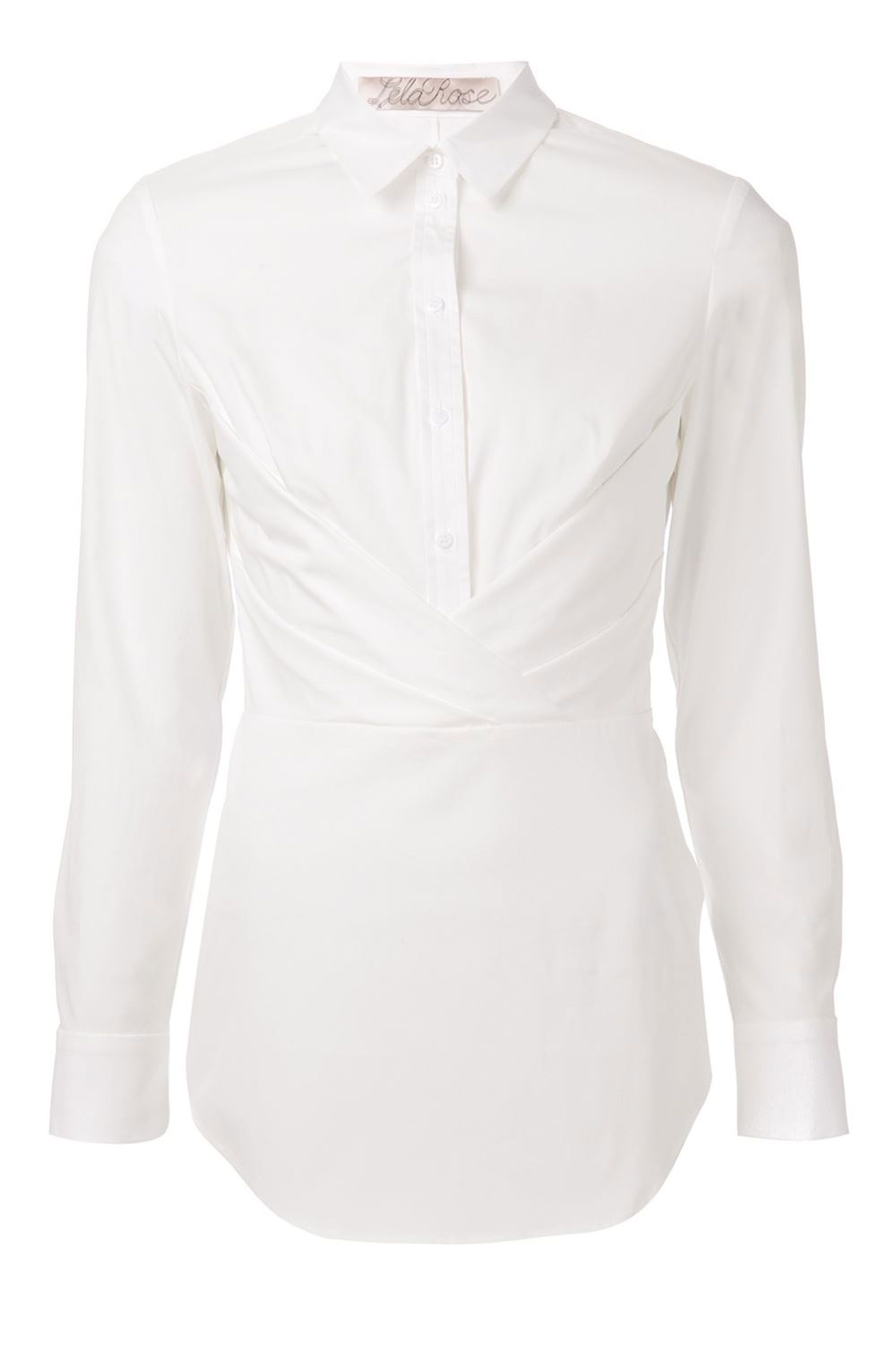 "The crisscross draping in the front gives off a sultry, bustier-like appearance.   Lela Rose Button-Down Shirt With Crisscross Drape, $695; <a target=""_blank"" href=""http://www.neimanmarcus.com/Lela-Rose-Button-Down-Drape-Shirt-Lace-Hem-Skirt/prod176610236/p.prod?icid=&searchType=MAIN&rte=%2FbrSearch.jsp%3Ffrom%3DbrSearch%26request_type%3Dsearch%26search_type%3Dkeyword%26q%3Dwhite%20shirt&eItemId=prod174080472&cmCat=search"">neimanmarcus.com</a>"