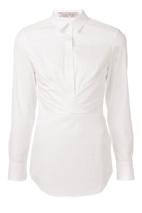 "The crisscross draping in the front gives off a sultry, bustier-like appearance.   Lela Rose Button-Down Shirt With Crisscross Drape, $695; <a target=""_blank"" href=""http://www.neimanmarcus.com/Lela-Rose-Button-Down-Drape-Shirt-Lace-Hem-Skirt/prod176610236/p.prod?icid=&amp;searchType=MAIN&amp;rte=%2FbrSearch.jsp%3Ffrom%3DbrSearch%26request_type%3Dsearch%26search_type%3Dkeyword%26q%3Dwhite%20shirt&amp;eItemId=prod174080472&amp;cmCat=search"">neimanmarcus.com</a>"