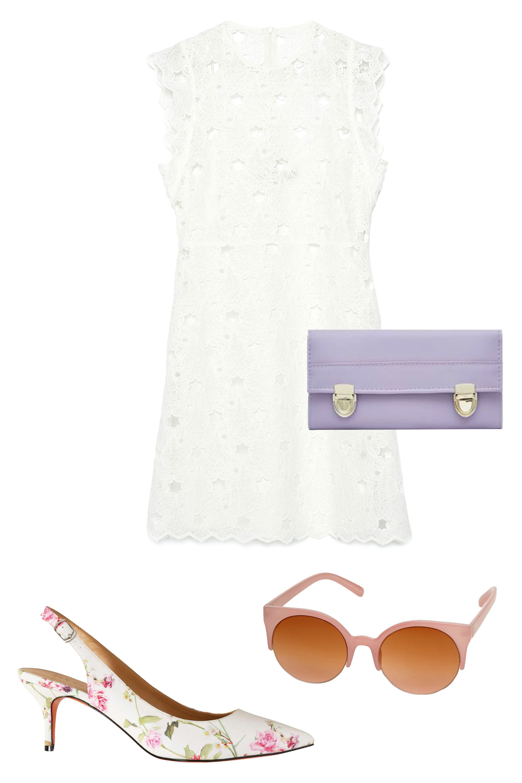 "Zara Guipure Stars Dress, $100; <a target=""_blank"" href=""http://www.zara.com/us/en/woman/dresses/view-all/guipure-stars-dress-c719020p2608004.html"">zara.com</a>  Joe Fresh Floral Slingback Pumps, $69; <a target=""_blank"" href=""https://www.joefresh.com/us/Categories/Women/Shoes-Boots/Floral-Sling-Back-Pumps/p/WS5F505034_968"">joefresh.com</a>  Dorothy Dalston Round Sunglasses, $14; <a target=""_blank"" href=""http://us.dorothyperkins.com/en/dpus/product/accessories-788623/sunglasses-788667/pink-dalston-round-sunglasses-4167515?bi=1&ps=200"">dorothyperkins.com</a>  New Look Double Lock Purse, $12; <a target=""_blank"" href=""http://www.newlook.com/shop/womens/bags-and-purses/lilac-panel-double-lock-purse-_333369655?productFind=search"">newlook.com</a>"