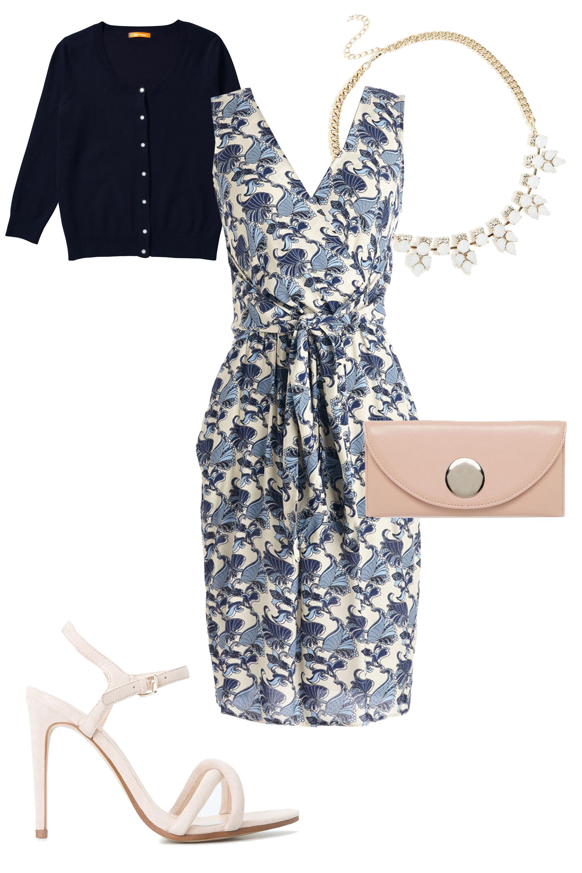 "Closet Tied with a Botanical Dress, $85; <a target=""_blank"" href=""http://www.modcloth.com/shop/dresses/tied-with-a-botanical-dress"">modcloth.com</a>  Joe Fresh Scoop Neck Cardigan, $19; <a target=""_blank"" href=""https://www.joefresh.com/us/Categories/Women/Sweaters/Scoop-Neck-Cardigan/p/WS5R360001_404"">joefresh.com</a>  ASOS Purse with Oversized Stud, $15; <a target=""_blank"" href=""http://us.asos.com/ASOS-Mega-Trim-Pouch/158aw0/?iid=4733218&cid=8730&sh=0&pge=0&pgesize=204&sort=3&clr=Nude&totalstyles=1231&gridsize=3&mporgp=L0FTT1MvQVNPUy1QdXJzZS1XaXRoLU92ZXJzaXplZC1TdHVkL1Byb2Qv"">asos.com</a>  Mango Criss Cross Straps Sandals, $60; <a target=""_blank"" href=""http://shop.mango.com/US/p0/women/accessories/special-sizes---criss-cross-straps-sandals/?id=43067000_70&n=1&s=accesorios.zapatos&ident=0_accesorio42,442,342_0_1428093011060&ts=1428093011060"">mango.com</a>  River Island Pretty Opal Short Necklace, $18; <a target=""_blank"" href=""http://us.asos.com/River-Island-Pretty-Opal-Short-Necklace/15it7b/?iid=4986848&cid=11408&sh=0&pge=0&pgesize=204&sort=-1&clr=Metal+yellow&totalstyles=514&gridsize=3&mporgp=L1JpdmVyLUlzbGFuZC9SaXZlci1Jc2xhbmQtUHJldHR5LU9wYWwtU2hvcnQtTmVja2xhY2UvUHJvZC8."">asos.com</a>"