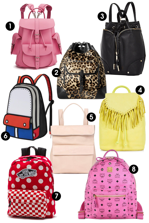 "1. Grafea Pink Lemonade Medium Leather Rucksack, $195; <a target=""_blank"" href=""http://www.thehut.com/bags-clothing/women/accessories/grafea-pink-lemonade-medium-leather-rucksack-pink/10641865.html"">thehut.com</a>   2. Rag & Bone Grayson Backpack, $995; <a target=""_blank"" href=""http://www.neimanmarcus.com/Rag-Bone-Grayson-Leopard-Print-Calf-Hair-Backpack/prod172440318/p.prod"">neimanmarcus.com</a>  3. River Island Black Leather-Look Drawstring Backpack, $60; <a target=""_blank"" href=""http://rstyle.me/n/ytgcvbc6jf"">riverisland.com</a>  4. Topshop Suede Fringe Backpack, $105; <a target=""_blank"" href=""http://rstyle.me/n/ytgb4bc6jf"">topshop.com</a>  5. Whistles Verity Large Backpack, $530; <a target=""_blank"" href=""http://rstyle.me/n/ytge8bc6jf"">whistles.com</a>  6. NOT JUST A LABEL Red Adventure Backpack $109; <a target=""_blank"" href=""https://www.notjustalabel.com/shop/sales3/red-adventure-backpack?utm_source=polyvore&utm_medium=cpc&utm_term=fashion&utm_campaign=fashion"">notjustalabel.com</a>  7. Vans Realm Dots Backpack, $38; <a target=""_blank"" href=""http://www.vans.com/shop/realm-floral-backpack-hawaiian-black?utm_campaign=Default&utm_medium=cse&utm_source=polyvore&utm_content=null&cm_mmc=cse-_-polyvore-_-Default-_-null"">vans.com</a>   8. MCM Stark Sprinkle Stud Small Coated Canvas Backpack, $625; <a target=""_blank"" href=""http://rstyle.me/n/ytgaibc6jf"">saksfifthavenue.com</a>"
