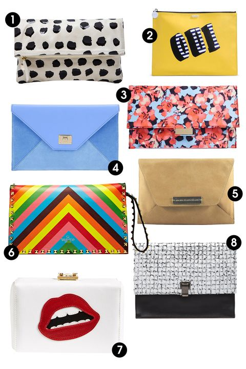 """1. Clare Vivier Foldover Clutch, $220; <a target=""""_blank"""" href=""""http://rstyle.me/n/ytgztbc6jf"""">revolveclothing.com</a>  2. Kenzo Clutch, $293; <a target=""""_blank"""" href=""""http://www.thecorner.com/item/index?cod10=45257073FT&amp;siteCode=THECORNER_US&amp;tp=48211&amp;tp=48211&amp;utm_source=polyvore&amp;utm_medium=display&amp;utm_campaign=clutches"""">thecorner.com</a>   3. ASOS Floral Print Clutch Bag, $33; <a target=""""_blank"""" href=""""http://rstyle.me/n/ytguhbc6jf"""">asos.com</a>  4. Jimmy Choo Rosetta Clutch Bag, $575; <a target=""""_blank"""" href=""""http://rstyle.me/n/ytgv3bc6jf"""">jimmychoo.com</a>   5. Joy Gryson Clutch, $131; <a target=""""_blank"""" href=""""http://rstyle.me/n/ytgnebc6jf"""">joygryson.com</a>  6. Valentino Rockstud Striped Leather Clutch Bag, $1,330; <a target=""""_blank"""" href=""""http://rstyle.me/n/ytgx9bc6jf"""">ln-cc.com</a>  7. Mark Cross Grace Lips Saffiano Calfskin Clutch, $1,895; <a target=""""_blank"""" href=""""http://rstyle.me/n/ytgsxbc6jf"""">nordstrom.com</a>  8. Proenza Schouler, $1,825; <a target=""""_blank"""" href=""""http://rstyle.me/n/ytgrubc6jf"""">proenzaschouler.com</a>"""