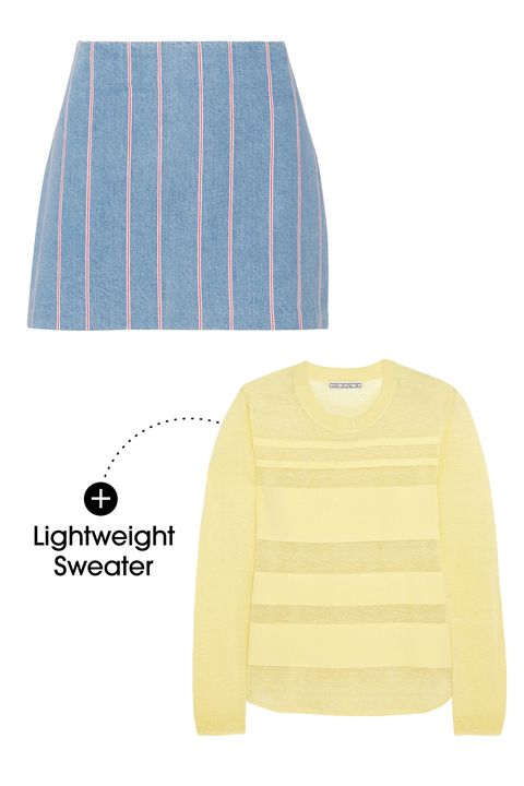 "Pair a sheer, lightweight sweater with a skirt made from a heavier fabrication, like denim. This skirt is especially great because of the surprising pink stripe.   T by Alexander Wang Striped Denim Mini Skirt, $225; <a target=""_blank"" href=""http://rstyle.me/n/yptbvbc6jf"">net-a-porter.com</a>  Dagmar Ruchi Striped Slub Sweater, $270; <a target=""_blank"" href=""http://rstyle.me/n/yptfmbc6jf"">net-a-porter.com</a>"