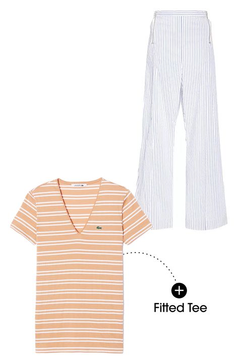 """These wide leg pants are great. They're lightweight and voluminous at the same time—a hard combination to find. Since the stripe on the pant is discreet, there's no need to shy away from a bold stripe on top. And go for something tight! It's crucial to offset the volume of these pants with something more fitted up top.  Dion Lee Striped Wide Let Pants, $395; <a target=""""_blank"""" href=""""http://rstyle.me/n/yptnhbc6jf"""">modaoperandi.com</a>  Lacoste Textured Stripe Cotton V-Neck, $60; <a target=""""_blank"""" href=""""http://www.lacoste.com/us/lacoste/women/clothing/t-shirts/textured-stripe-cotton-v-neck-t-shirt/TF7385-51.html?dwvar_TF7385-51_color=EKN"""">lacoste.com</a>"""