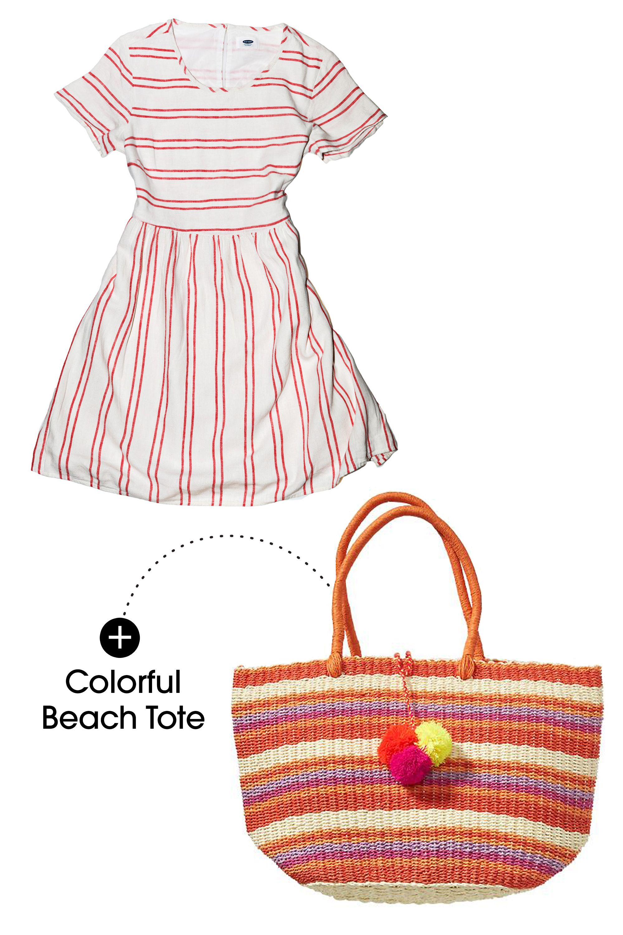 "Mixing different bright colors (like oranges and reds) can be just as easy as mixing stripes. The key is choosing varied textures like here: a linen dress and a straw tote make for an ideal summer brunch outfit.  Old Navy Striped Linen-Blend Dress, $33; <a target=""_blank"" href=""http://oldnavy.gap.com/browse/product.do?cid=91340&vid=1&pid=344614012"">oldnavy.com</a>  Old Navy Straw Tote, $30; <a target=""_blank"" href=""http://oldnavy.gap.com/browse/product.do?cid=7374&vid=1&pid=173191002"">oldnavy.com</a>"