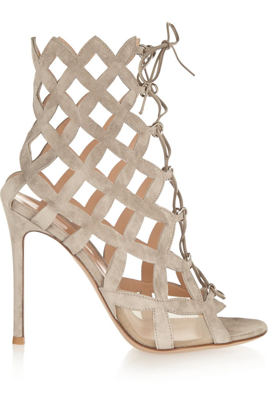 """Gianvito Rossi Cutout Suede Sandals, $1,595; &lt;a target=""""_blank"""" href=""""http://www.net-a-porter.com/product/496496/Gianvito_Rossi/cutout-suede-sandals""""&gt;net-a-porter.com&lt;/a&gt;   <!--EndFragment-->"""