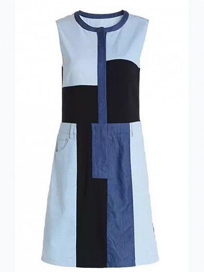 """Blue Sleeveless Splicing Denim Dress, $30; <a target=""""_blank"""" href=""""http://www.walktrendy.com/dresses/sleeveless-splicing-denim-dress-cy-e17-761.html"""">walktrendy.com</a>"""