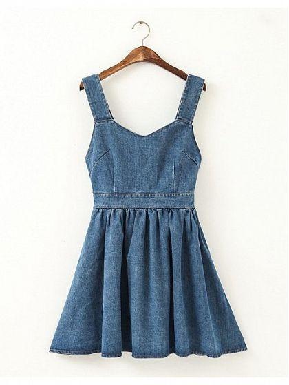 "Blue Cowboy Bowknot Denim Dress, $27; <a target=""_blank"" href=""http://www.walktrendy.com/dresses/cowboy-bowknot-denim-sundress-cy-b13-712.html"">walktrendy.com</a>"