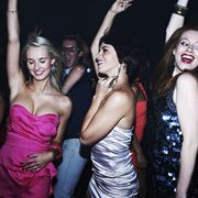 Arm, Mouth, Smile, Fun, Strapless dress, Dress, Shoulder, Social group, Hand, Facial expression,
