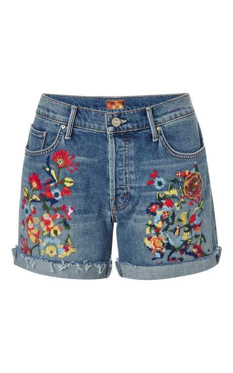 """Mother Denim Loosey Embroidered Jean Shorts, $250; <a target=""""_blank"""" href=""""http://modaoperandi.com/mother-denim-ss15/loosey-fray-short"""">modaoperandi.com</a>   <!--EndFragment-->"""
