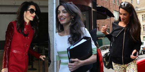 """Amal has a signature look and she sticks with it: blow-dried with some volume, bounciness, and exceptional shine. This is the base from which all her other styles start. Her hair stylist, Max Coles, said in an interview after the Clooney wedding that Amal wanted her hair to be """"very chic, casual, elegant, nothing fancy, nothing over-the-top—very glamorous and bohemian"""" hair. This pretty much sums up her look on a daily basis, whether she's out to lunch with the hub or in court."""