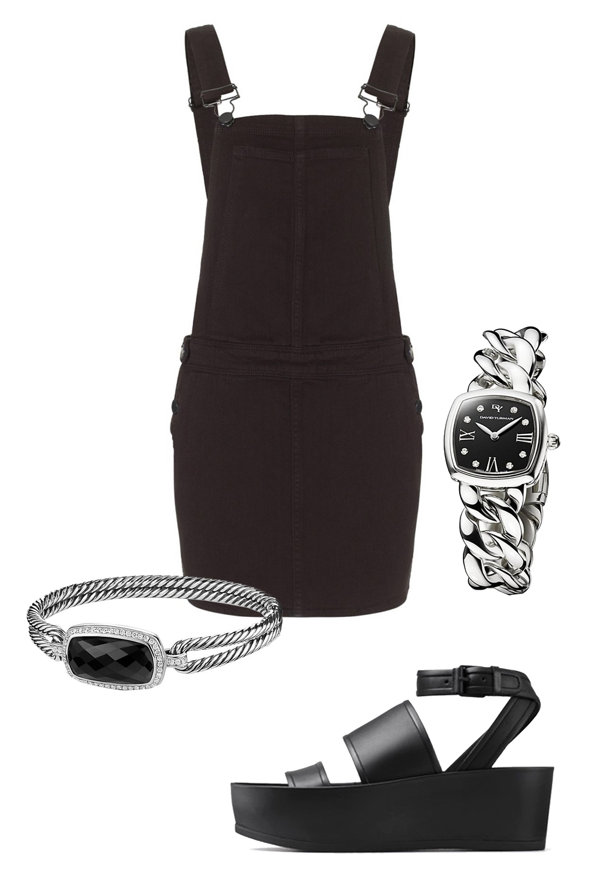 "Paige Denim Black Overall Danielle Dress, $178; &lt;a target=""_blank"" href=""http://rstyle.me/n/yzinubc6jf""&gt;avenue32.com&lt;/a&gt;  David Yurman Albion 23mm Stainless Steel Quartz Watch with Diamonds, $1,850; &lt;a target=""_blank"" href=""http://www.davidyurman.com/products/women/watches/albion-23mm-stainless-steel-quartz-timepiece-with-diamonds-t9005.html?lpos=PLP-18&amp;amp;item=t9005qsstbrac&amp;amp;source=plp""&gt;davidyurman.com&lt;/a&gt;  David Yurman Albion Bracelet with Black Onyx and Diamonds, $2,100; &lt;a target=""_blank"" href=""http://www.davidyurman.com/products/women/bracelets/albion-bracelet-with-diamonds-b12421dss.html?lpos=PLP-13&amp;amp;item=b12421dssabodi&amp;amp;source=plp""&gt;davidyurman.com&lt;/a&gt;  Vince Vienna Leather Platform Sandals, $350; &lt;a target=""_blank"" href=""http://www.vince.com/vienna-leather-platform-sandals/invt/vnd4444m1&amp;amp;color=Black&amp;amp;bklist=icat,5,,accessories,wtopfootwear,wnsandalsB""&gt;vince.com&lt;/a&gt;   <!--EndFragment-->     <!--EndFragment-->     <!--EndFragment-->     <!--EndFragment-->"