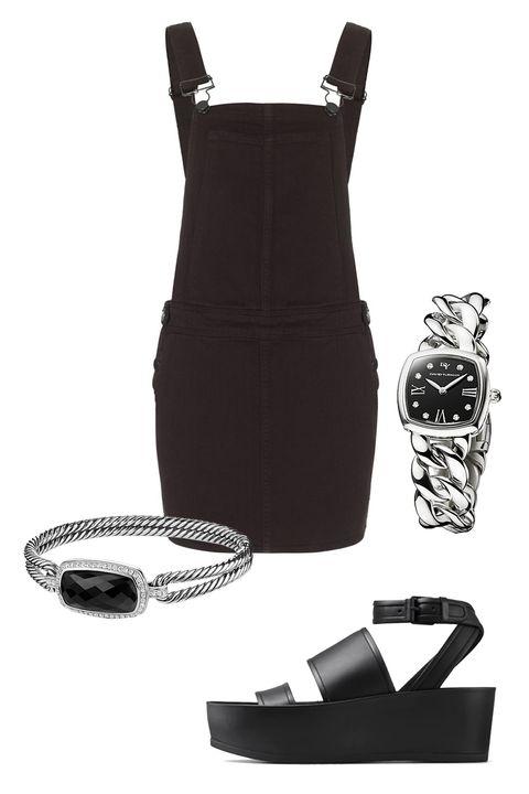 "Paige Denim Black Overall Danielle Dress, $178; <a target=""_blank"" href=""http://rstyle.me/n/yzinubc6jf"">avenue32.com</a>  David Yurman Albion 23mm Stainless Steel Quartz Watch with Diamonds, $1,850; <a target=""_blank"" href=""http://www.davidyurman.com/products/women/watches/albion-23mm-stainless-steel-quartz-timepiece-with-diamonds-t9005.html?lpos=PLP-18&amp;item=t9005qsstbrac&amp;source=plp"">davidyurman.com</a>  David Yurman Albion Bracelet with Black Onyx and Diamonds, $2,100; <a target=""_blank"" href=""http://www.davidyurman.com/products/women/bracelets/albion-bracelet-with-diamonds-b12421dss.html?lpos=PLP-13&amp;item=b12421dssabodi&amp;source=plp"">davidyurman.com</a>  Vince Vienna Leather Platform Sandals, $350; <a target=""_blank"" href=""http://www.vince.com/vienna-leather-platform-sandals/invt/vnd4444m1&amp;color=Black&amp;bklist=icat,5,,accessories,wtopfootwear,wnsandalsB"">vince.com</a>   <!--EndFragment-->     <!--EndFragment-->     <!--EndFragment-->     <!--EndFragment-->"
