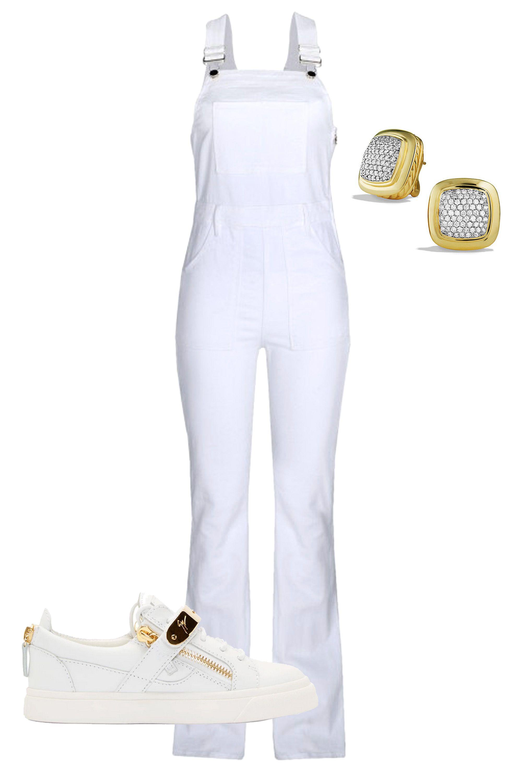 "David Yurman Albion Earrings with Diamonds in Gold, $9,200; &lt;a target=""_blank"" href=""http://www.davidyurman.com/products/women/earrings/albion-earrings-with-diamonds-in-gold-e06741-88.html?lpos=PLP-113&amp;amp;item=e06741%2088adi0s&amp;amp;source=""&gt;davidyurman.com&lt;/a&gt;  Frame Denim Le High Flare Denim Overalls, $440; &lt;a target=""_blank"" href=""http://shop.harpersbazaar.com/designers/frame-denim/le-high-flare-denim-overalls/?gclid=CjwKEAjw3YipBRDL2bHhjLmFkQsSJADtzktj78Nijri4X2GP5lw9gfOHwR_7aQiTHHle0MnBY3BG_xoCL-nw_wcB""&gt;shop.harpersbazaar.com&lt;/a&gt;  Giuseppe Zannoti White Leather &amp;amp; Gold Low-Top Sneakers, $765; &lt;a target=""_blank"" href=""https://www.ssense.com/en-us/women/product/giuseppe-zanotti/ssense-exclusive-white-leather-and-gold-low-top-birel-sneakers/1136753?utm_source=2178999&amp;amp;utm_medium=affiliate&amp;amp;utm_campaign=generic&amp;amp;utm_term=10569670""&gt;ssense.com&lt;/a&gt;   <!--EndFragment-->     <!--EndFragment-->     <!--EndFragment-->"