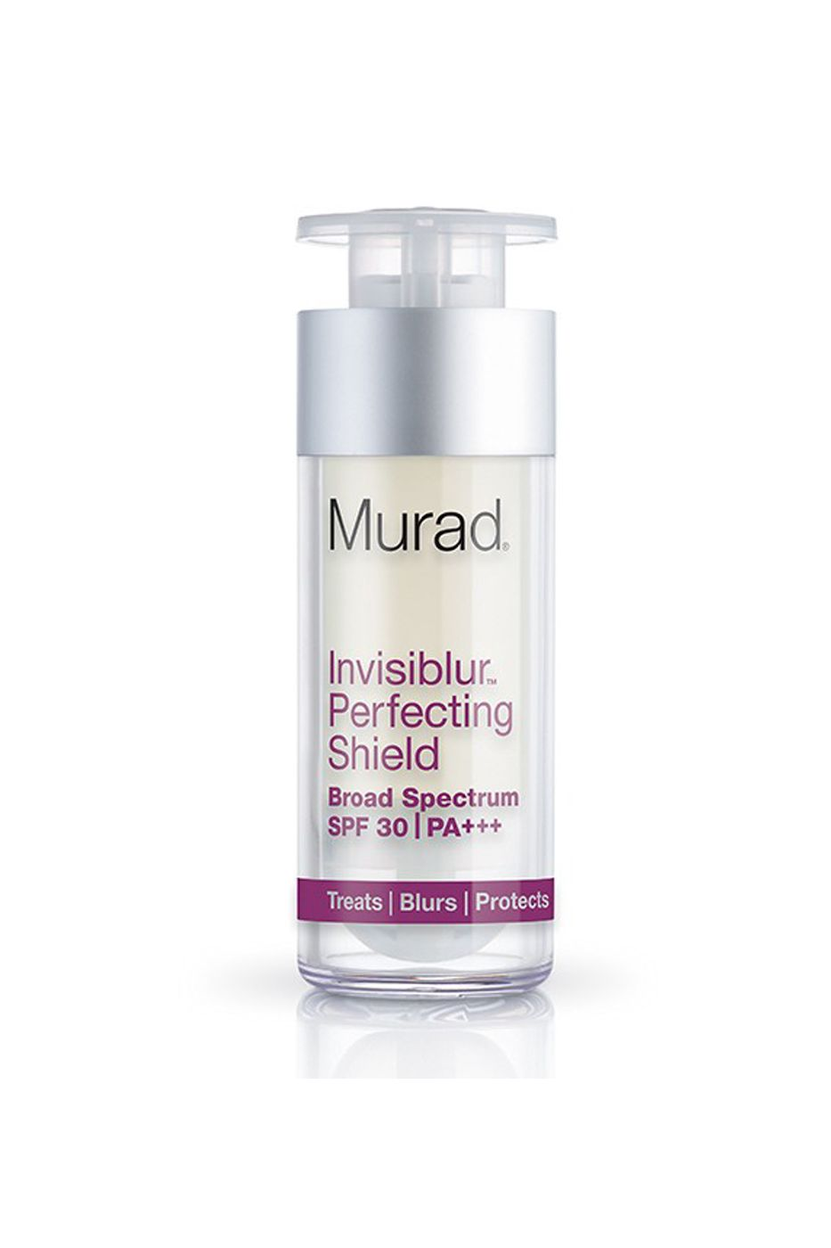 "So-called ""blurring lotions"" are all the rage, and for good reason—these little miracle workers fill in and plump lines temporarily to make your face look smoother. Murad took this technology and wrapped it into a product that acts as a primer, a longer-term anti-aging product (thanks to mushroom peptides), and a sunscreen. 