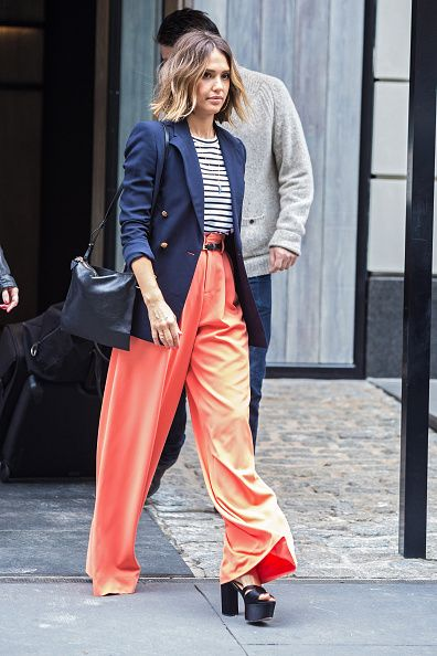 Who: Jessica Alba  When: 4/14/2015   Why: Another stripe! Alba rocks a Ralph Lauren Blazer and an A.L.C. tee. She pairs hers with a coral pant and a platform sandal. So chic!