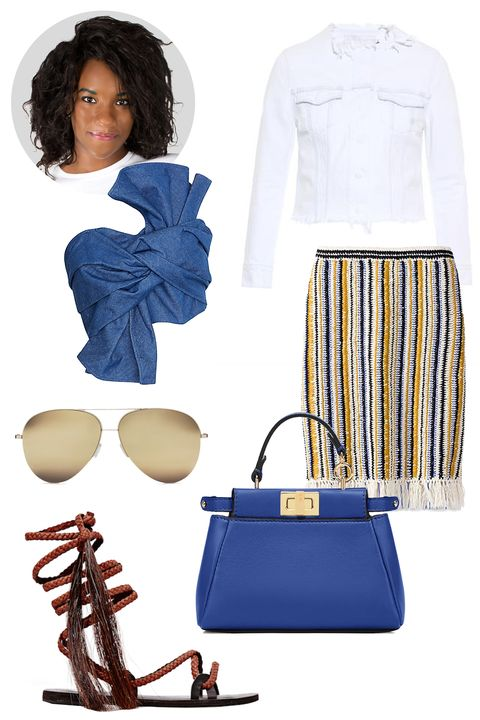 "Tory Burch Crochet and Fringe Long Skirt, $595; <a target=""_blank"" href=""http://rstyle.me/n/y4s5nbc6jf"">toryburch.com</a>  Victoria Beckham Eyewear Classic Victoria 18ct Gold Aviators, $950; <a target=""_blank"" href=""https://www.victoriabeckham.com/shop/eyewear/classic-victoria-18ct-gold"">victoriabeckham.com</a>  Brother Vellies Russet Talitha Midi Sandal, $495; <a target=""_blank"" href=""http://www.brothervellies.com/site/index.php?route=product/product&amp;path=80&amp;product_id=159&amp;parent=womens"">brothervellies.com</a>  Cameo Front Knot Denim Crop Top, $148; <a target=""_blank"" href=""http://rstyle.me/~4TuSW"">intermixonline.com</a>  Marques'Almeida Denim Jacket, $444; <a target=""_blank"" href=""http://www.matchesfashion.com/us/products/Marques%27Almeida-Frayed-edge-denim-jacket-1011115"">matchesfashion.com</a>  Fendi Micro Peekaboo Bag, price available upon request, <a target=""_blank"" href=""http://www.fendi.com/us/micro-peekaboo-micro-bag-in-neon-blue-leather/p-8M0355K47F0U52"">fendi.com</a>"