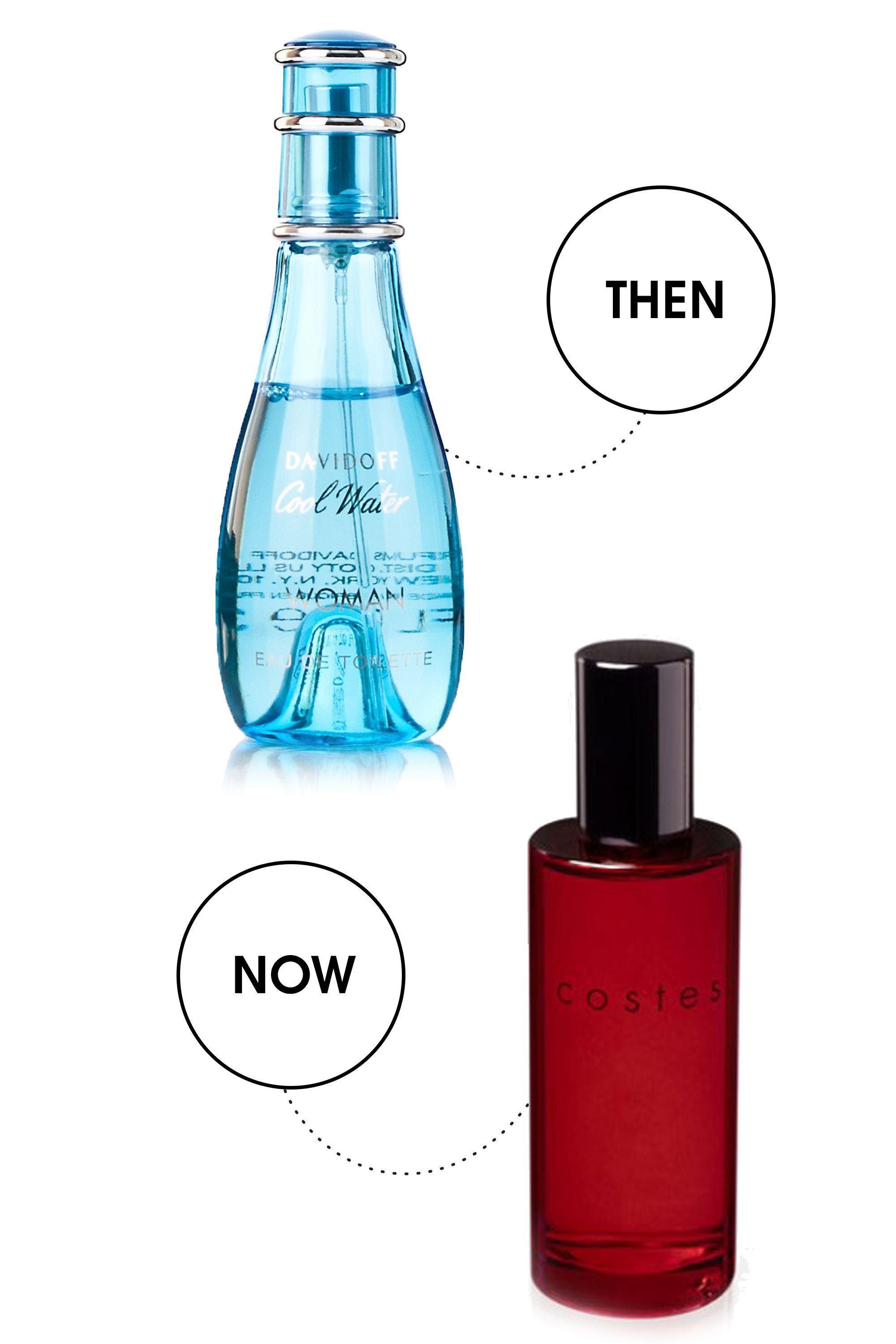 """<strong>Then: </strong>Davidoff Cool Water Woman, $26; <a target=""""_blank"""" href=""""http://www.drugstore.com/products/prod.asp?pid=413779&catid=183369&aid=338666&aparam=413779&kpid=413779&CAWELAID=120142990000047630&CAGPSPN=pla&kpid=413779"""">drugstore.com</a>  """"I loved Davidoff Cool Water because my best friend wore it and she always got the cutest, older boys. In my head it was practically the lady version of <a href=""""http://m0.joe.ie/wp-content/uploads/2015/04/10152553/Fantana.gif"""">Sex Panther</a>. Nevermind that they made Cool Water for men.""""  <strong>Now: </strong>Hôtel Costes Original Fragrance, $79; <a target=""""_blank"""" href=""""http://www.bigelowchemists.com/hotel-costes-original-fragrance-eau-de-toilette.html"""">bigelowchemists.com</a>  <strong>""""</strong>I wear a few drops of this on pressure points to take me back to the most romantic Valentine's Day ever."""""""