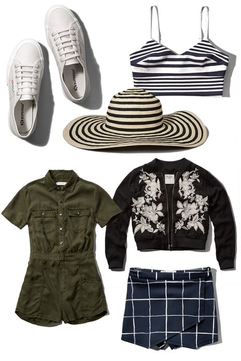 """Though it was once synonymous with zippered trackpants and overpriced Penguin Diving Club T-shirts, the Americana retailer now puts out a solid bohemian vibe that would perfectly complement a wardrobe of Isabel Marant and Acne. (<em>Clockwise from L to R:</em>) <em><a target=""""_blank"""" href=""""http://www.abercrombie.com/shop/us/p/superga-classic-cotu-sneaker-4496570_01"""">Superga 'Cotu' sneakers</a>, $65; <a target=""""_blank"""" href=""""http://www.abercrombie.com/shop/us/womens-tops-new-arrivals/striped-long-line-bralette-4689076_01"""">striped 'Long Line' bralette</a>, $38; <a target=""""_blank"""" href=""""http://www.abercrombie.com/shop/us/womens-accessories-new-arrivals/striped-floppy-straw-hat-4522069_01"""">striped floppy straw hat</a>, $34; <a target=""""_blank"""" href=""""http://www.abercrombie.com/shop/us/womens-accessories-new-arrivals/striped-floppy-straw-hat-4522069_01"""">embroidered bomber jacket</a>, $120; printed <a target=""""_blank"""" href=""""http://www.abercrombie.com/shop/us/womens-bottoms-new-arrivals/print-neoprene-skort-4722082_01"""">neoprene skort</a>, $40; <a target=""""_blank"""" href=""""http://www.abercrombie.com/shop/us/womens-dresses-new-arrivals/cargo-jumpsuit-4531084_01"""">cargo jumpsuit</a>, $68.</em>"""