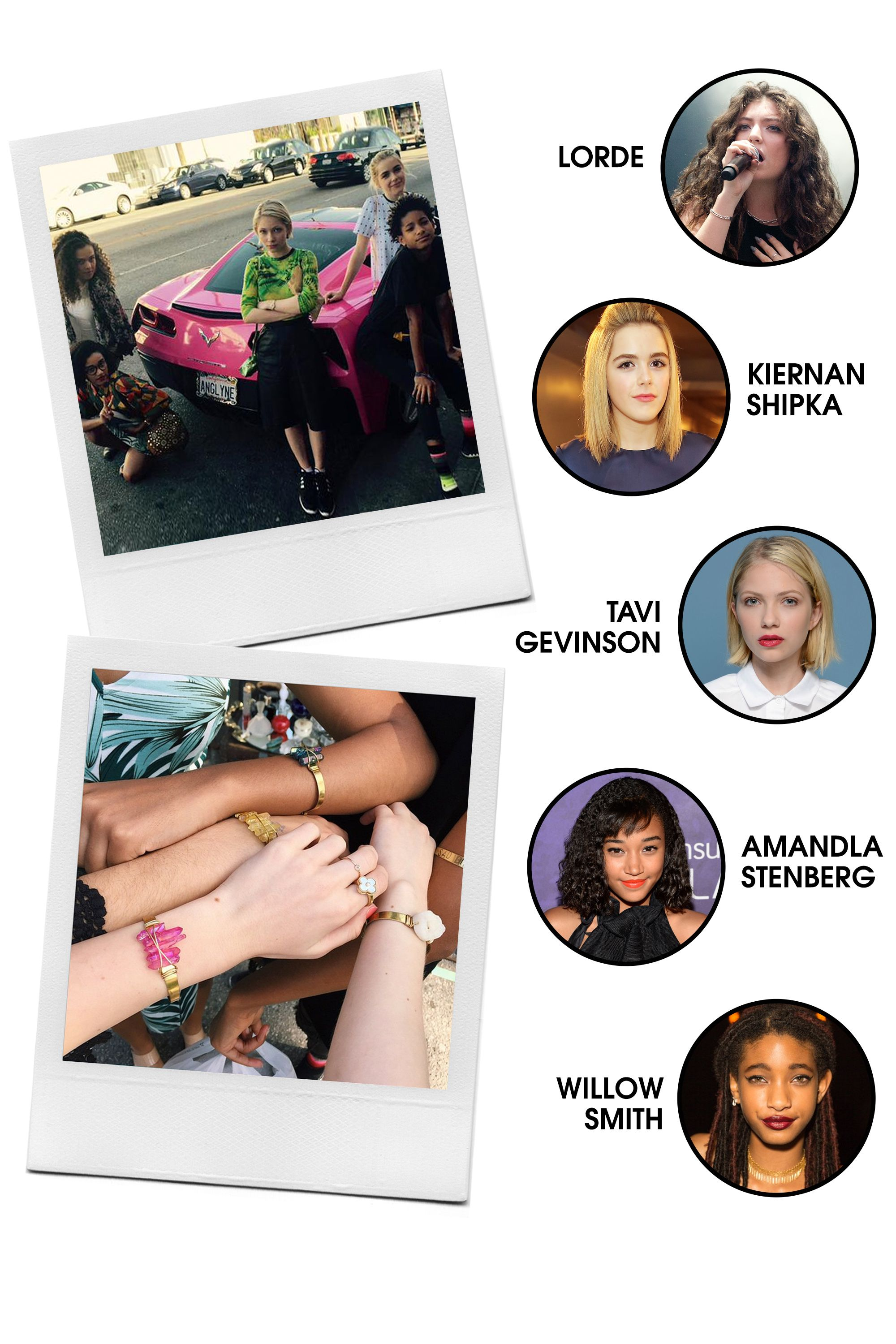 """This close-knit bunch is young Hollywood's good girl group, all holding the common thread of being bona fide breakout stars: Shipka as Sally Draper in <em>Mad Men</em>, Stenberg as Rue in <em>The Hunger Games</em>, Smith from her ultra-famous family, Gevinson as a media whiz and actress on the rise, and Lorde, as well, Lorde.  <strong>All-Around Vibe: </strong>Eloquence and industry-savvy beyond their years and all-around sweetness.  <strong>Preferred PDA: </strong>Trips to the flea market and most recently, <a target=""""_blank"""" href=""""https://instagram.com/p/1HX9AlG_Rs/?taken-by=tavitulle"""">matching friendship bracelets</a>.  <strong>Signature Look: </strong>Cute and eclectic, and at times edgy.  <strong>Fringe Members: </strong>Hailee Steinfeld, <em>Homeland</em>'s Morgan Saylor"""