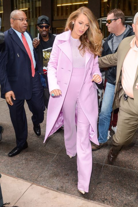 """Who: Blake LivelyWhen: 4/21/2015Why: More fall clothing! Here is Blake in one of her <a target=""""_blank"""" href=""""http://www.elle.com/fashion/celebrity-style/news/g26127/blake-lively-style/"""">10 outfits (just for Tuesday)</a>: A Cushnie et Ochs purple pants suit."""