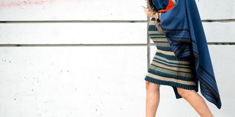 Sleeve, Shoulder, Human leg, Bag, Dress, Street fashion, One-piece garment, Electric blue, Day dress, Luggage and bags,