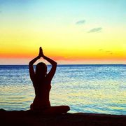 Horizon, Sunset, Sunrise, Dusk, Liquid, Ocean, Sunlight, People in nature, Physical fitness, Yoga,