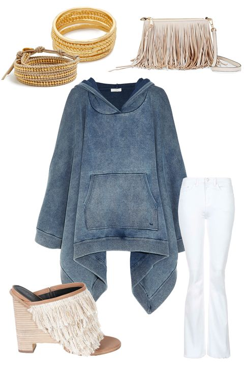 "<strong>Chloé Denim-Effect Jersey Hooded Poncho Sweatshirt, $1650; <a href=""https://www.net-a-porter.com/us/en/product/544807"">net-a-porter.com</a></strong>  <em>Clockwise from top left:</em>  Chan Luu Evil Eye Charm Beaded Leather Wrap Bracelet, $235; <a href=""http://shop.nordstrom.com/s/chan-luu-evil-eye-charm-beaded-leather-wrap-bracelet/4021659?origin=category-personalizedsort&amp;contextualcategoryid=0&amp;fashionColor=&amp;resultback=8187"">nordstrom.com</a>  Gorjana Textured G Ring Set, $65; <a href=""http://www.shopbop.com/ring-texture-set-gorjana/vp/v=1/1514593954.htm?folderID=2534374302060434&amp;fm=other-shopbysize-viewall&amp;colorId=34588"">shopbop.com</a>  Rebecca Minkoff Finn Crossbody, $195; <a href=""http://www.rebeccaminkoff.com/finn-crossbody-seashell"">rebeccaminkoff.com</a>  Topshop Moto Raw Hem Tally Flared Jeans, $75; <a href=""http://us.topshop.com/webapp/wcs/stores/servlet/ProductDisplay?searchTerm=flared&amp;storeId=13052&amp;productId=19518807&amp;urlRequestType=Base&amp;categoryId=&amp;langId=-1&amp;productIdentifier=product&amp;catalogId=33060"">topshop.com</a>  Tibi Ophelie Mules, $485; <a href=""http://www.tibi.com/shop/shoes/view-all/ophelie-mules-natural"">tibi.com</a>"