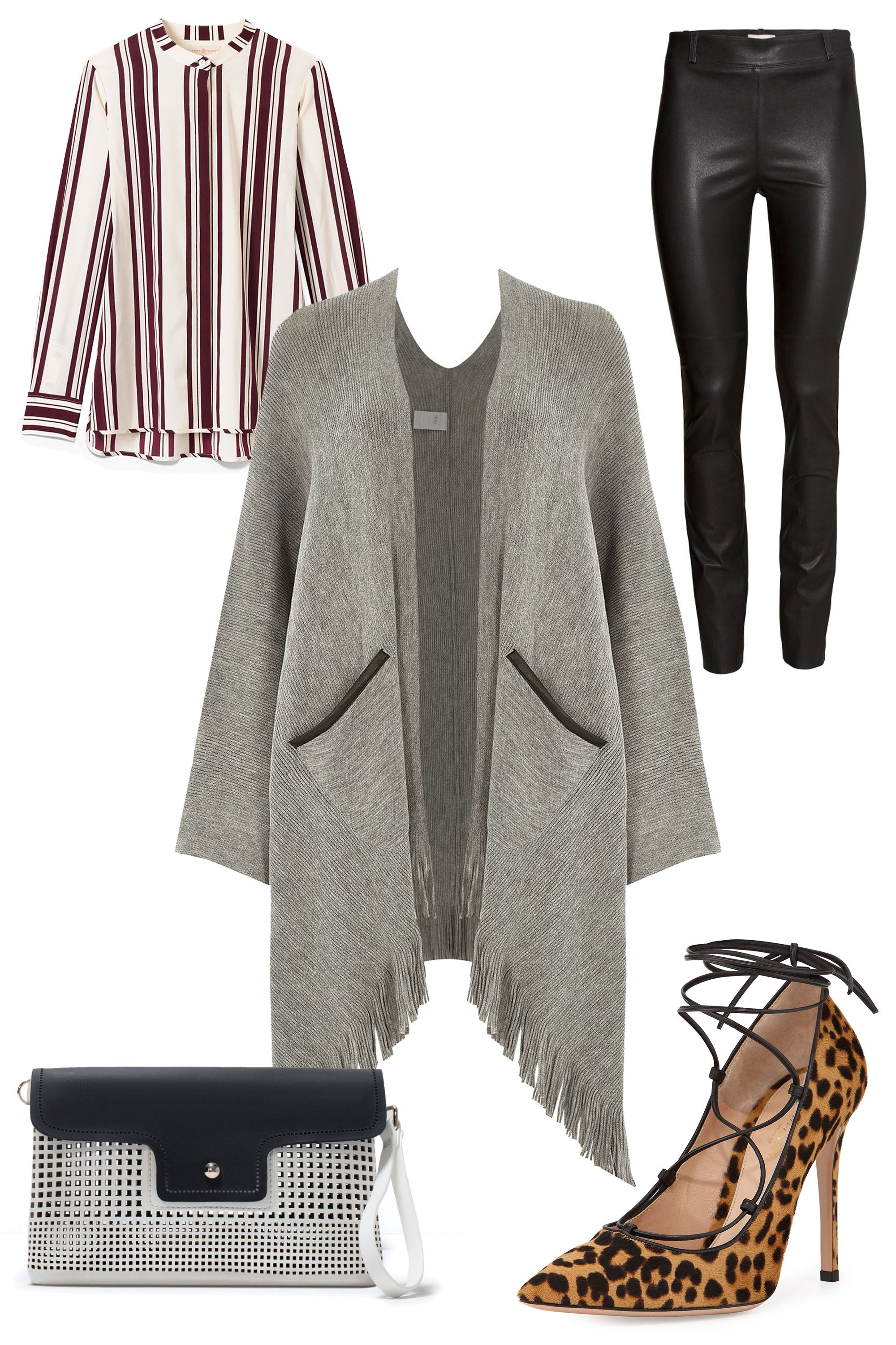 "<strong>River Island Oversized Tassel Trim Cape, $70&#x3B; <a href=""http://us.riverisland.com/women/coats--jackets/capes--kimonos/grey-oversized-tassel-trim-cape-670412"">riverisland.com</a></strong>