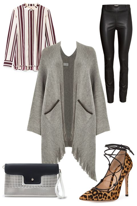 "<strong>River Island Oversized Tassel Trim Cape, $70; <a href=""http://us.riverisland.com/women/coats--jackets/capes--kimonos/grey-oversized-tassel-trim-cape-670412"">riverisland.com</a></strong>  <em>Clockwise from top left:</em>  Tory Burch Stretch Silk Button-Dwon Shirt, @95; <a href=""http://www.toryburch.com/stretch-silk-button-down-shirt/10156154.html?dwvar_10156154_color=961&amp;start=10&amp;cgid=clothing-tops"">toryburch.com</a>  H&amp;M Leather Pants, $349; <a href=""http://www.hm.com/us/product/89389?article=89389-B"">hm.com</a>  Gianvito Rossi Leopard-Print Calf Hair Lace-Up Pump, $1070; <a href=""http://www.bergdorfgoodman.com/Gianvito-Rossi-Leopard-Print-Calf-Hair-Lace-Up-Pump/prod109430027_cat379623__/p.prod?icid=&amp;searchType=EndecaDrivenCat&amp;rte=%2Fcategory.service%3FitemId%3Dcat379623%26pageSize%3D120%26No%3D120%26Ns%3DPCS_SORT%26refinements%3D&amp;"">bergdorfgoodman.com</a>  Zara Perforated Clutch, $36; <a href=""http://www.zara.com/us/en/woman/handbags/view-all/perforated-clutch-c719532p2388036.html"">zara.com</a>"