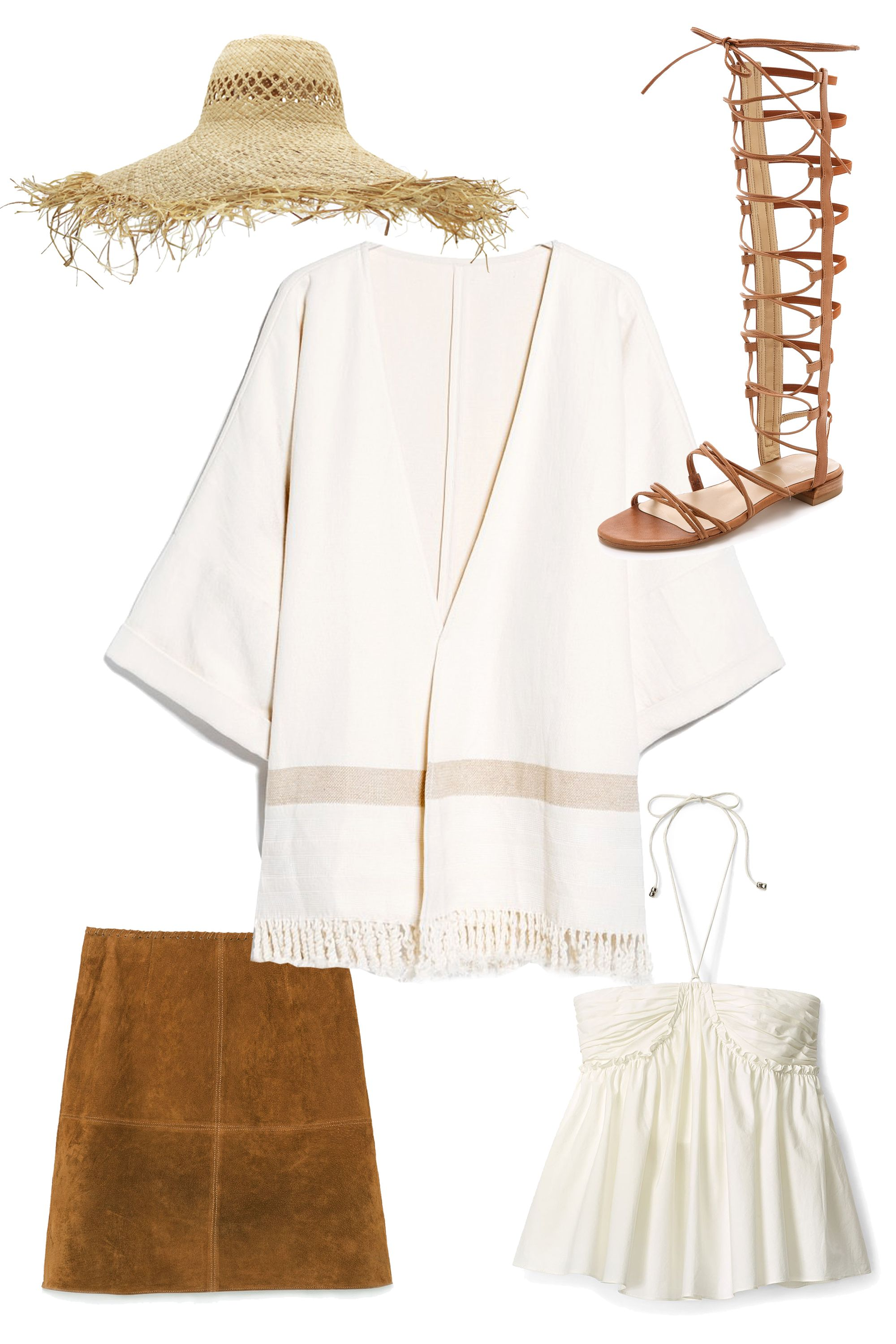 "<strong>Mango Fringe Linen-Blend Poncho, $120; <a href=""http://shop.mango.com/US/p0/women/clothing/fringe-linen-blend-poncho/?id=41059024_05&n=1&s=prendas.vestidosprendas&ident=0__0_1429807565416&ts=1429807565416"">mango.com</a></strong>  <em>Clockwise from top left:</em>  Eugenia Kim Delilah Hat, $425; <a href=""http://www.eugeniakim.com/delilah/#.VTkk17uj1bk"">eugeniakim.com</a>  Stuart Weitzman Sparta Sandals, $498; <a href=""http://www.shopbop.com/sparta-sandals-stuart-weitzman/vp/v=1/1530199201.htm?fm=search-viewall-shopbysize"">shopbop.com</a>  Rebecca Minkoff Kristina Top, $188; <a href=""http://www.rebeccaminkoff.com/kristina-top-chalk"">rebeccaminkoff.com</a>  Zara Seamed Skirt with Trimmed Waist, $80; <a href=""http://www.zara.com/us/en/woman/skirts/view-all/seamed-skirt-with-trimmed-waist-c719016p2484035.html"">zara.com</a>"