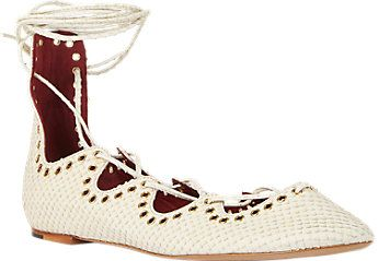 "Isabel Marant Leo Ankle-Wrap Flats, $650; <a target=""_blank"" href=""http://rstyle.me/n/yduftbc6jf"">barneys.com</a>"