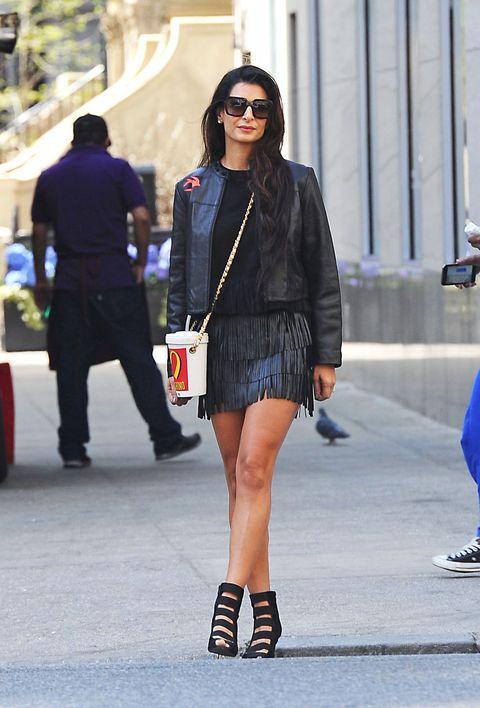 Clothing, Footwear, Leg, Human leg, Outerwear, Street, Bag, Style, Street fashion, Sunglasses,