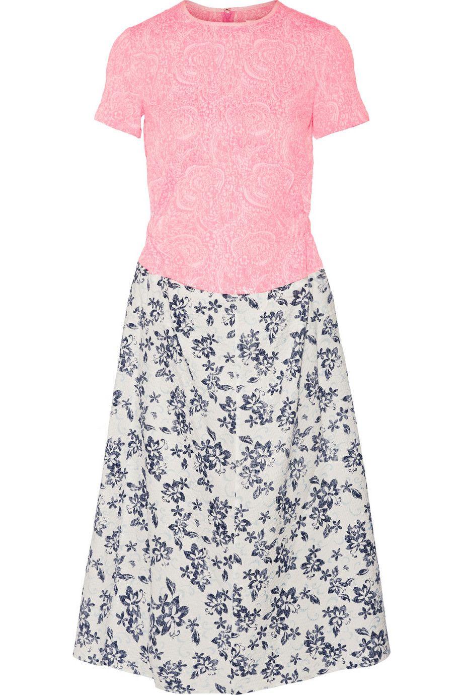 """Julien David Jacquard and Printed Seersucker Cotton Dress, $1,240; <a target=""""_blank"""" href=""""http://www.net-a-porter.com/us/en/product/513800"""">net-a-porter.com</a>"""
