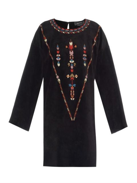 "Isabel Marant Maggy Embroidered Suede Dress, $2,410; &lt;a href=""http://www.matchesfashion.com/product/1001356""&gt;matchesfashion.com&lt;/a&gt;   <!--EndFragment-->"