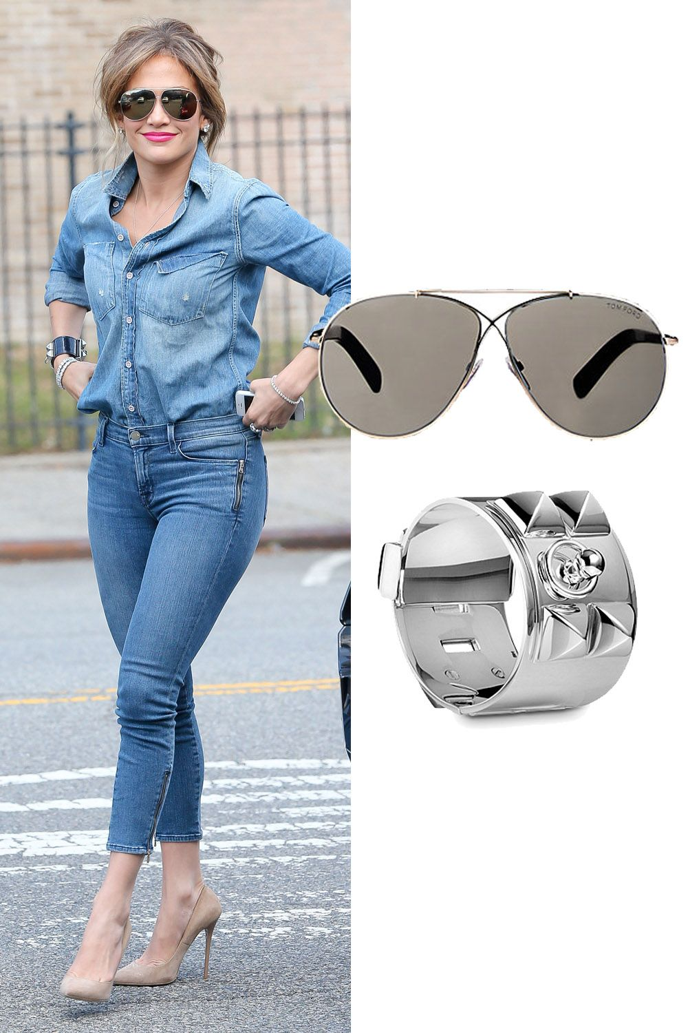 "J.Lo sticks to silver accents.   Hermes Collier de Chien Silver Bracelet, $4,300; &lt;a target=""_blank"" href=""http://usa.hermes.com/jewelry/silver-jewelry/bracelets/configurable-product-106515b.html""&gt;usa.hermes.com&lt;/a&gt;  Tom Ford Eva Sunglasses, $425; &lt;a target=""_blank"" href=""http://www.barneys.com/tom-ford-eva-sunglasses-503932723.html""&gt;barneys.com&lt;/a&gt;   <!--EndFragment-->"