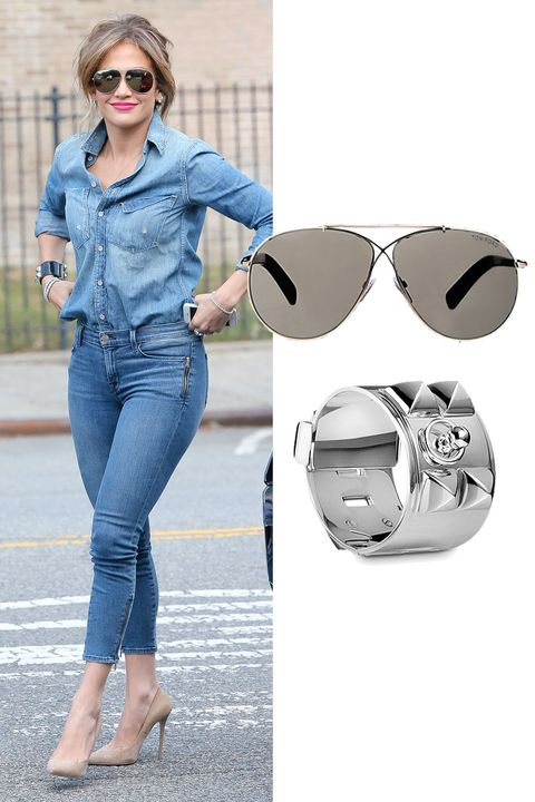 "J.Lo sticks to silver accents.   Hermes Collier de Chien Silver Bracelet, $4,300; <a target=""_blank"" href=""http://usa.hermes.com/jewelry/silver-jewelry/bracelets/configurable-product-106515b.html"">usa.hermes.com</a>  Tom Ford Eva Sunglasses, $425; <a target=""_blank"" href=""http://www.barneys.com/tom-ford-eva-sunglasses-503932723.html"">barneys.com</a>   <!--EndFragment-->"