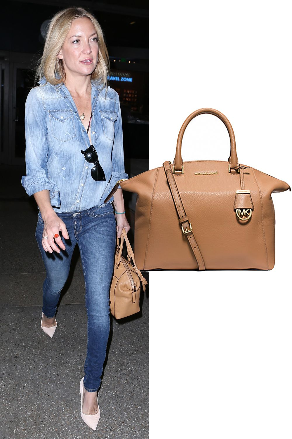 "Kate Hudson takes a neutral stance.  Michael Kors Riley Large Pebbled Leather Satchel, $368; <a target=""_blank"" href=""http://www.michaelkors.com/riley-large-pebbled-leather-satchel/_/R-US_30S5GRLS3L?No=1&color=1999#"">michaelkors.com</a>"