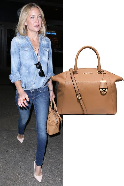 "Kate Hudson takes a neutral stance.  Michael Kors Riley Large Pebbled Leather Satchel, $368; <a target=""_blank"" href=""http://www.michaelkors.com/riley-large-pebbled-leather-satchel/_/R-US_30S5GRLS3L?No=1&amp;color=1999#"">michaelkors.com</a>"