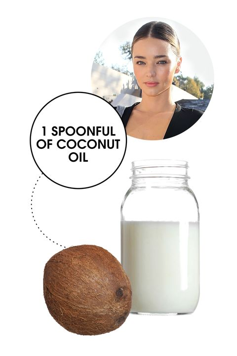 """The former Victoria's Secret Angel is hardly secretive about how she stays so fit, not that we're complaining. One of her top tips for beating bloat? A spoonful of unrefined coconut oil, consumed daily. Believe it or not, it's actually a practice many of our go-to nutrition experts <a target=""""_blank"""" href=""""http://www.elle.com/beauty/health-fitness/advice/a27089/eat-this-today-look-and-feel-amazing-tomorrow/"""">swear by to get digestion moving and flush out the system first thing in the morning</a>. (Try stirring a teaspoon into your coffee—it's <em>amazing</em>.)"""