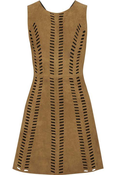 "Maje Rigolette Perforated Suede Mini Dress, $660; <a href=""http://www.net-a-porter.com/us/en/product/558400/Maje/rigolette-perforated-suede-mini-dress"">net-a-porter.com</a>   <!--EndFragment-->"