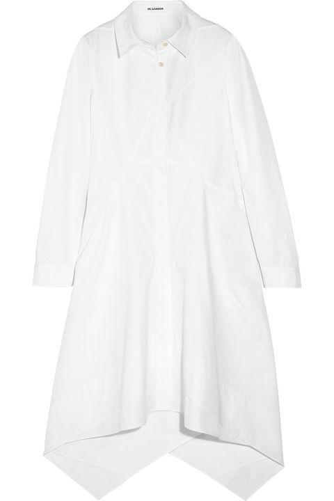 """Jil Sander Cotton-Poplin Shirt Dress, $1,750; <a href=""""http://www.net-a-porter.com/us/en/product/500688"""">net-a-porter.com</a>   <!--EndFragment-->"""