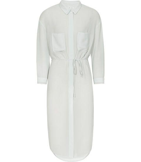 "Reiss 1971 Vanda Chiffon Shirt Dress, $265&#x3B; <a href=""https://www.reiss.com/p/chiffon-shirt-dress-womens-vanda-in-abyssal-blue/?q=shirt+dress"">reiss.com</a> <!--EndFragment-->"