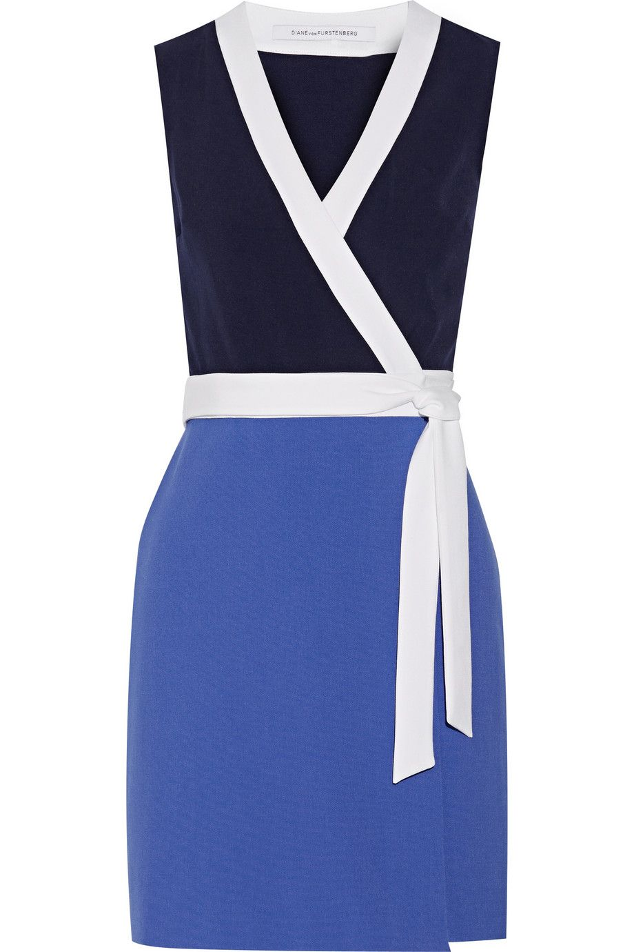 "Diane von Furstenburg Gracie Color-Block Stretch-Crepe Mini Dress, $400&#x3B; <a href=""http://www.net-a-porter.com/us/en/product/502773"">net-a-porter.com</a>