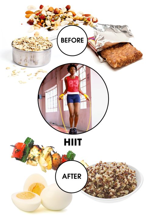 """<strong>Before: </strong>Consider the word """"intense"""" in High-Intensity Interval Training—it's quick, but those few minutes really put your body through the ringer. It means that fueling up with efficient energy beforehand is crucial. """"Nuts and seeds are high in fiber and cover all your macronutrient bases, such as carbs, proteins, and fat, to keep you satisfied and energized,"""" says Snyder. """"You can also try about ½ cup of oatmeal, which will give you a quick boost of energy for a great workout."""" If you're strapped for time or reserving your energy for your HIIT session, a minimally processed fruit and nut bar is a decent alternative. """"The point is getting accessible carbohydrates as a pre-workout booster,"""" says Stanley.   <strong>After: </strong>Say it with us: """"Protein, protein, protein."""" """"Without sufficient protein, you will not get as much payoff for your hard work,"""" warns Stanley, since muscles need adequate replenishment in order to repair themselves (which in turn makes you more toned). This replenishment also comes in the form of glycogen, which is their main source of fuel. You'll kill two birds with quinoa, says Snyder, since the carbohydrates will help restore glycogen levels but it's also chock full of protein. Add an extra protein boost with eggs and add some veggies to keep things balanced."""